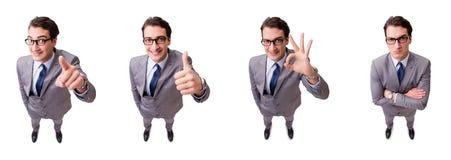按真正按钮的滑稽的商人隔绝在白色 库存照片