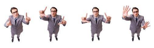 按真正按钮的滑稽的商人隔绝在白色 免版税库存图片