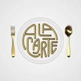 按菜谱点菜与叉子的行情印刷回报3D例证的背景和刀子3D 库存照片