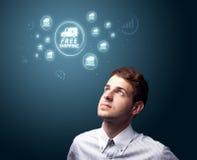 按虚拟促销和发运图标的类型生意人 免版税库存照片