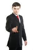按虚构的按钮的年轻成功的商人 免版税库存图片