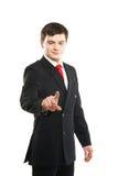 按虚构的按钮的年轻成功的商人 库存照片