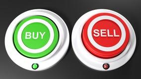 按钮买的和sel;买被选择- 3D翻译 免版税库存照片