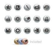 按钮互联网金属加上系列选址万维网 免版税库存照片