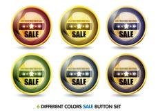 按钮五颜六色的销售额集 免版税库存图片