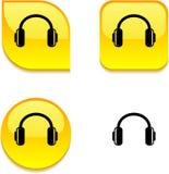 按钮光滑的耳机 免版税库存照片