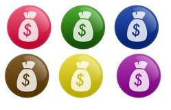 按钮光滑的货币 免版税库存照片