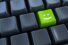 按钮关键董事会微笑 免版税图库摄影