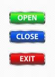 按钮出口开放关闭 免版税库存照片