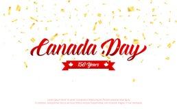 按钮加拿大日图标设置了 加拿大150年与金落的五彩纸屑的周年横幅 加拿大独立日 图库摄影