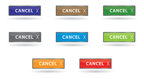 按钮取消发光的彩色组 库存图片