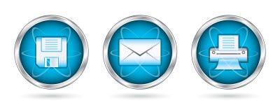 按钮图标除集之外的邮件打印 免版税库存照片