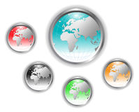 按钮地球地球向量 免版税库存照片