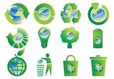 按钮地球地球回收 库存照片