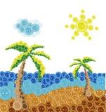 按钮夏天海滩  免版税库存图片