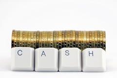 按钮现金计算机 免版税库存图片