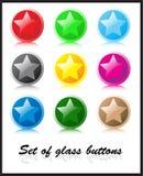 按钮玻璃集 免版税库存照片