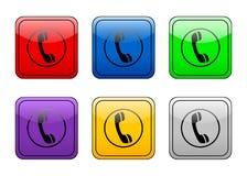 按钮电话被舍入的正方形 免版税库存图片