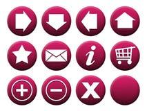 按钮紫红色集 免版税库存照片