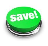 按钮绿色保存 免版税库存照片