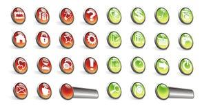 按钮绿色图标红色万维网 库存照片