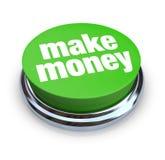 按钮绿色挣货币 库存照片