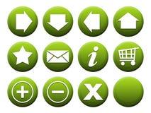 按钮绿色集 库存照片