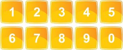 按钮编号黄色 免版税库存图片