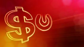 按钮美元的符号和象征  光亮微粒财务背景  3D与景深的圈动画 库存例证