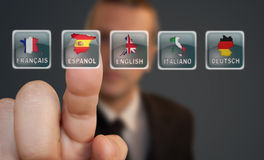 按钮语言选择 免版税图库摄影