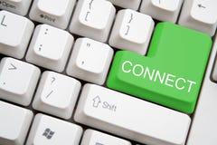 按钮连接绿色关键董事会 库存照片