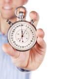 按钮递被伸出的秒表二 免版税库存照片