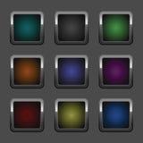 按钮镀铬物彩色组万维网 库存照片