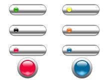 按钮镀铬物玻璃万维网 库存图片