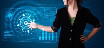 按钮高现代按的技术类型妇女 免版税图库摄影