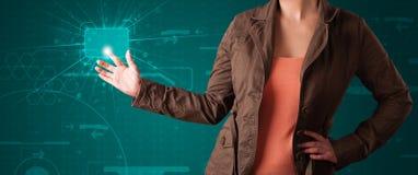 按钮高现代按的技术类型妇女 图库摄影