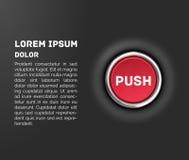 按钮, 3d红色光滑的金属象,传染媒介 图库摄影