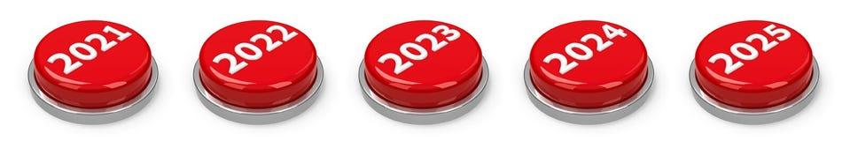 按钮- 2021 2022 2023 2024 2025年 向量例证