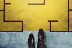 挑战、战略和领导概念 事务顶视图  免版税库存图片