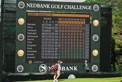 挑战最终高尔夫球漏洞nedbank记分牌 库存照片