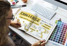 挑战目标目标试验技巧测试战利品概念 免版税库存图片
