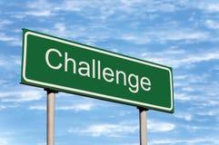 挑战覆盖路标天空 库存照片