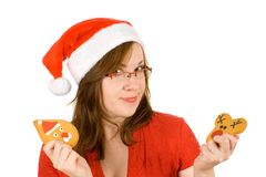 挑选困难驯鹿圣诞老人 图库摄影