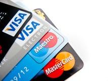 挑选的信用卡 库存照片