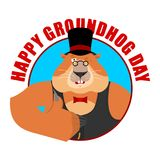 挖土日象征 在帽子赞许和闪光的Groundhog 木头 图库摄影