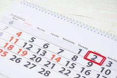 挖土日 在日历的2月2日马克 库存照片
