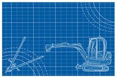 挖掘机与图纸的线艺术图画 免版税图库摄影