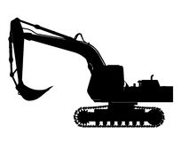 挖掘机剪影 库存图片
