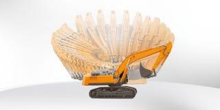 挖掘机在一个的机器360角度 免版税库存照片