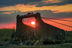 挖掘机桶牵引索 库存图片